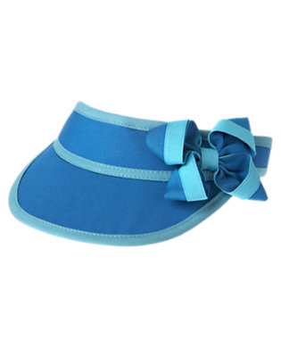 Girls Seahorse Blue Bow Visor by Gymboree