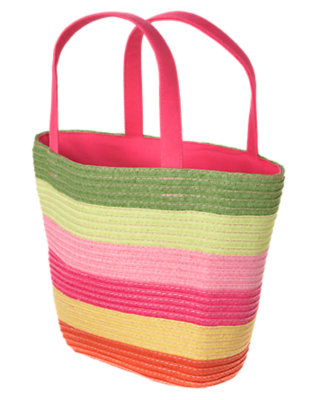 Girls Fern Green Stripe Stripe Straw Tote Bag by Gymboree