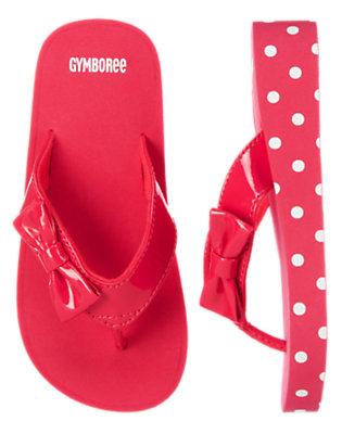 Poppy Pink Patent Bow Dot Flip Flop by Gymboree