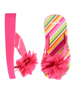 Girls Flamingo Pink Flower Stripe Flip Flop by Gymboree