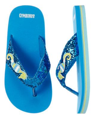 Girls Seahorse Blue Sequin Seahorse Flip Flop by Gymboree