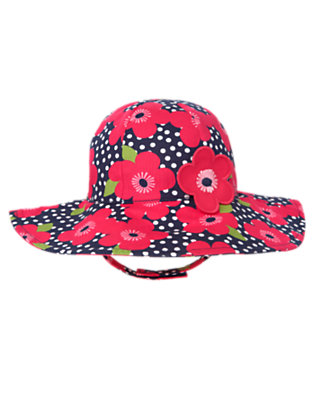 Toddler Girls Navy Dot Flower Flower Dot Sunhat by Gymboree