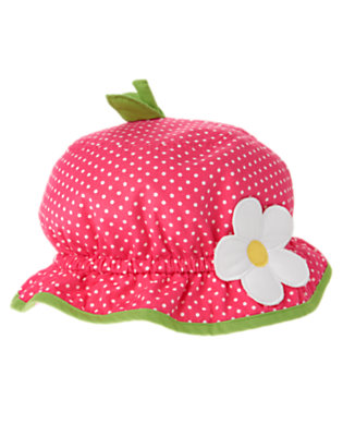 Flamingo Pink Dot Strawberry Dot Sunhat by Gymboree