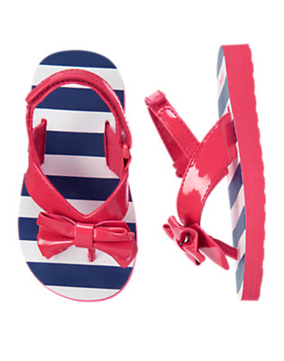 Toddler Girls Spring Navy Stripe Patent Bow Flip Flop Sandal by Gymboree