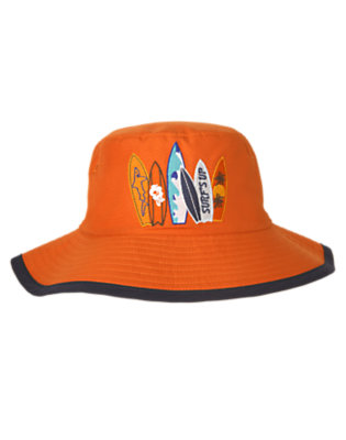 Boys Orange Ochre Surfboard Swim Hat by Gymboree
