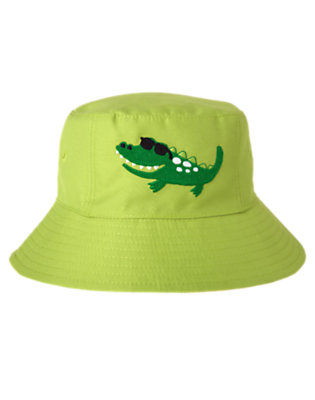 Chartreuse Green Alligator Reversible Swim Hat by Gymboree