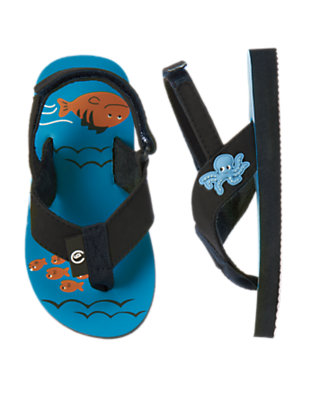 Dark Teal Fish Flip Flop by Gymboree