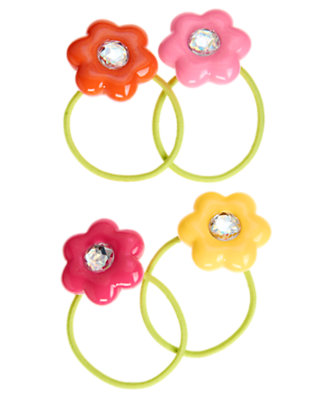 Girls Tulip Pink Gem Flower Pony Holder Four-Pack by Gymboree