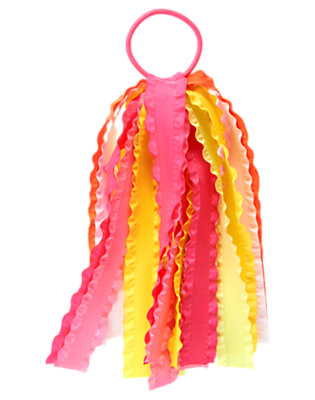 Girls Hydrangea Pink Ruffle Streamer Pony Holder by Gymboree