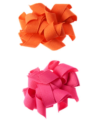 Girls Tulip Pink Grosgrain Curly Hair Clip Two-Pack by Gymboree