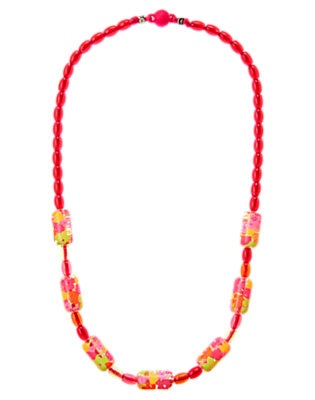 Girls Tulip Pink Flower Bead Necklace by Gymboree