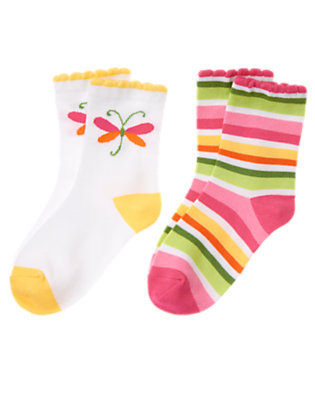Girls Green Tea Stripe/White Dragonfly Stripe Sock Two-Pack by Gymboree
