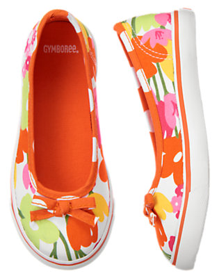 Girls White Floral Bow Flower Sneaker by Gymboree