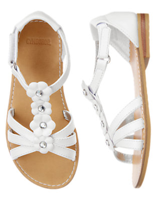 White Gem Flower Sandal by Gymboree