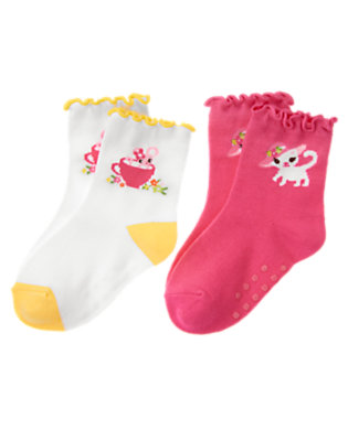 Tulip Pink/White Kitty Mouse Sock Two-Pack by Gymboree