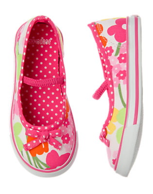 White Floral Flower Sneaker by Gymboree