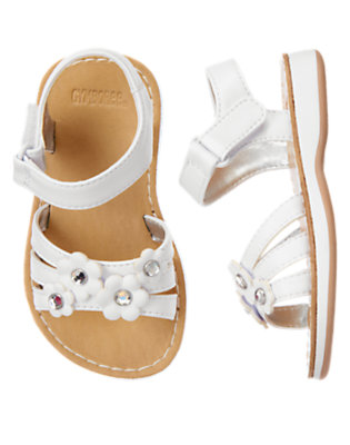 Toddler Girls White Gem Flower Sandal by Gymboree