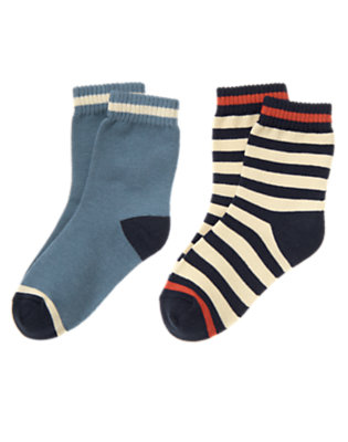 Boys Anchor Blue Tipped Stripe Sock Two-Pack by Gymboree