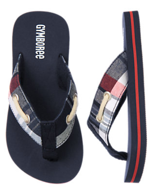 Boys Midnight Blue Plaid Interlaced Plaid Flip Flop by Gymboree