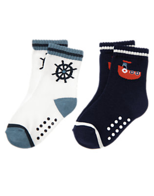 Toddler Boys White Tugboat Captain's Wheel Sock Two-Pack by Gymboree