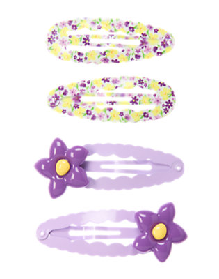 Girls Purple Posy Violet Snap Clip Four-Pack by Gymboree