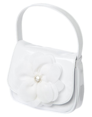 Girls White Pearl Flower Patent Purse by Gymboree