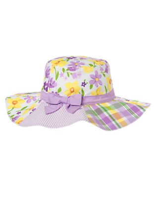 Girls White Violet Flower Mixed Print Bow Sunhat by Gymboree