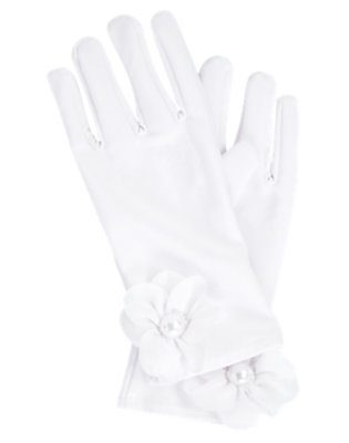 Girls White Pearl Flower Gloves by Gymboree