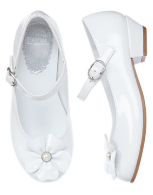 White Pearl Flower Patent Shoe by Gymboree