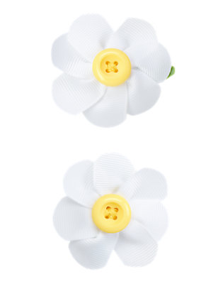 Toddler Girls White Button Daisy Hair Clip Two-Pack by Gymboree