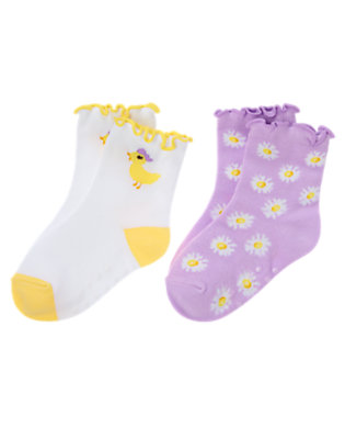 White Duckling Flower Sock Two-Pack by Gymboree