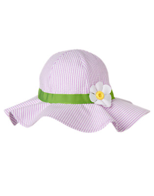 Toddler Girls Purple Posy Button Daisy Stripe Seersucker Sunhat by Gymboree