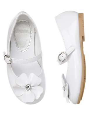 White Gem Flower Patent Shoe by Gymboree