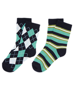 Boys Navy Argyle Stripe Sock Two-Pack by Gymboree