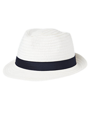 Boys White Straw Fedora Hat by Gymboree