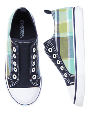 Sea Blue Plaid Laceless Plaid Sneaker by Gymboree