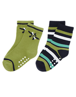 Toddler Boys Spring Green Sea Plane Stripe Sock Two-Pack by Gymboree