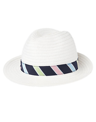 White Stripe Band Straw Fedora Hat by Gymboree