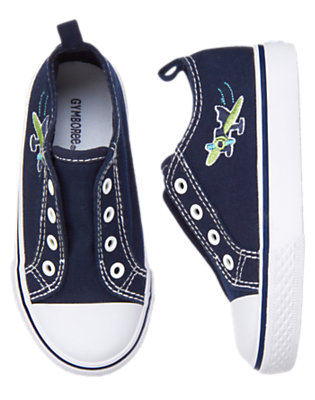 Toddler Boys Midnight Blue Sea Plane Laceless Sneaker by Gymboree