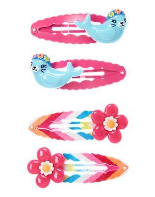 Girls Zinnia Pink Seal Flower Snap Clip Four-Pack by Gymboree