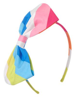 Girls Lagoon Blue Stripe Stripe Bow Headband by Gymboree