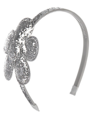 Girls Silver Glitter Glitter Flower Headband by Gymboree