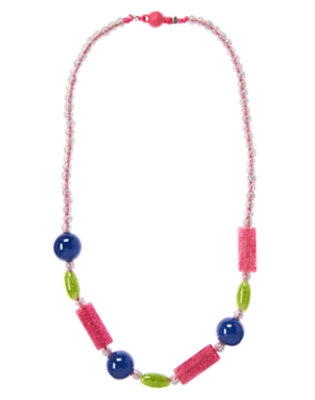 Girls Zinnia Pink Glitter Glitter Bead Necklace by Gymboree