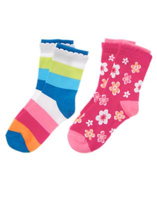 Girls Zinnia Pink Flower Stripe Sock Two-Pack by Gymboree