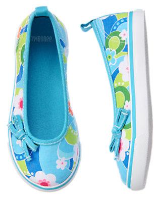 Sky Blue Flower Swirl Bow Flower Sneaker by Gymboree