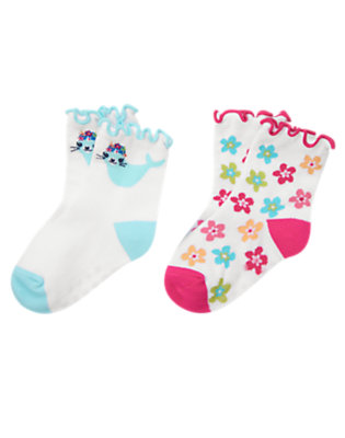 White Seal Flower Sock Two-Pack by Gymboree