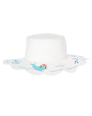 White Swimming Seal Sunhat by Gymboree