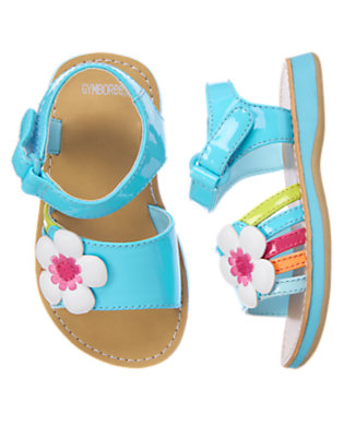 Seal Blue Flower Stripe Sandal by Gymboree