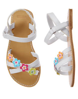 Toddler Girls White Flower Sandal by Gymboree