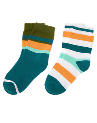 Boys Dark Teal Stripe Sock Two-Pack by Gymboree